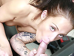 Hot ass tattooed brunette has her tight pussy pounded