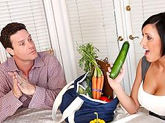 Dylan Ryder is a rep for a home-delivery produce service and she's showing off some fresh and organic vegetables to potential client. She wants to win his business and she'll go to any length to make sure he's buying only from her. And Dylan knows that sh